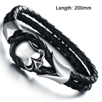 New Fashion Vintage jewelry Stainless Steel Skull Bracelets Black Synthetic Leather Rope Hand Chain Men Bangles