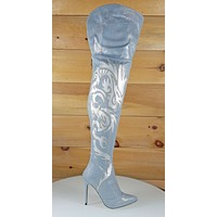 Mac J Oriental Laser Dragon Hologram Denim High Heel Thigh Boot
