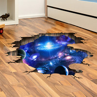 simulation 3D galaxy planet floor stickers decal cosmic meteor ceiling wall paredes murals home rooms interior decor adhesive