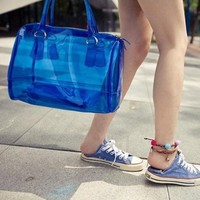 NEEWER® Women Jelly Beach Tote Bag Clear Transparent Bucket Satchel Handbag with Zipper Closure (Blue)
