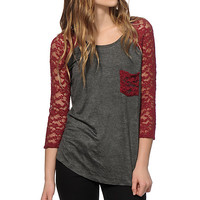 Lace Splicing 3/4 Sleeve Slimming Pocket Top