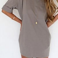 Gray Roll-Up Sleeve Shift Dress