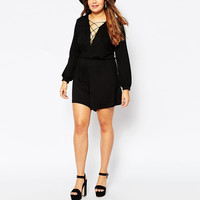 Plus Size Black Deep V-Neck Criss Cross Long Sleeve Romper