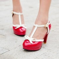 2015 News Grils Womens Mary Janes T-Strap Bow Tie High Heel Pumps Lolita Shoes