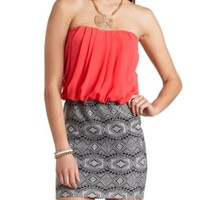 Tribal Print & Chiffon Strapless Dress by Charlotte Russe - Coral