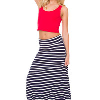 Isobel Stripe Maxi Skirt - Navy