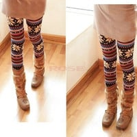 Knitted Colorful Soft Comfortable Crystal Pattern Leggings Tights Pants  1972 Trousers One size = 1651435460