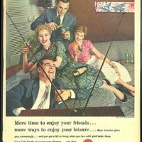 More time to enjoy your friends & leisure Coca-Cola ad 1957 2 couples watch TV