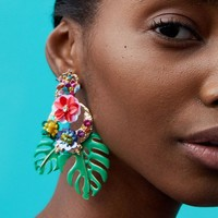 JUJIA Z New Style Fashion Jewelry Antique Big Design Vintage Pendientes Hojas Y Flores Leaves And Flowers Earrings