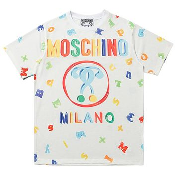 Moshino New fashion multicolor letter print couple top t-shirt White