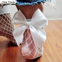 Chaussette Femme Sock Women Solid White Color All Matched Bowknot Fishnet Sock Lace Short Socks