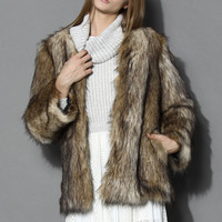Chicwish Camel Faux Fur Coat Brown