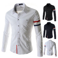 Mens Trendy Slim Colored Armband and Inner Front Dress Shirt