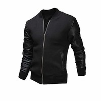 Clearance Casual Jackets,Han Shi Fashion Mens Autumn Winter Patchwork Zipper Tops Coat