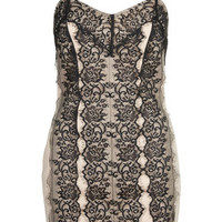 Lace Overlay Bodycon Tunic - Nude