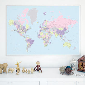 Custom quote - highly detailed printable world map with cities, capitals, countries, US States... labeled. Color combination: Noelia