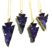 Amethyst Arrowhead Necklace, Druzy Arrowhead Necklace, Crystal Arrowhead Necklace