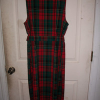 70s Vintage Pendleton red and green wool short sleeved dress