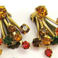 Made in Austria Earrings Clips Clipons 1940s  Amber Yellow Orange Green Rhinestones Estate Jewelry