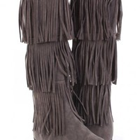 Grey Faux Suede Fringe Tiered Mid Calf Boots