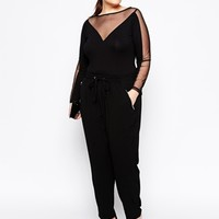 ASOS CURVE Exclusive Body with Deep Plunge & Mesh Sleeves
