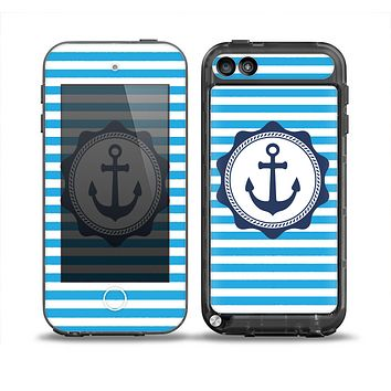 The Vector Navy Anchor with Blue Stripes Skin for the iPod Touch 5th Generation frē LifeProof Case