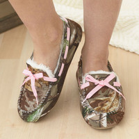 Moccasins Realtree Camo Northern Trail Slipper House Shoe Slip On Lined Women's