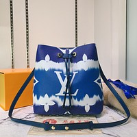 LV Louis Vuitton Hot Sale Gradient Color Printed Letters Ladies Cross Shoulder Bag Bucket Bag Blue