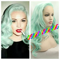 Lindsey lohan celebrity pastel  lace front wig. heat safe.natural hair line