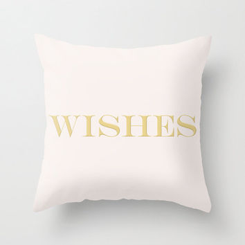 Soft Pink & Metallic Gold Wishes Typography Throw Pillow Cover Decorative Throw Pillow Inspirational Quote Minimalist Decor
