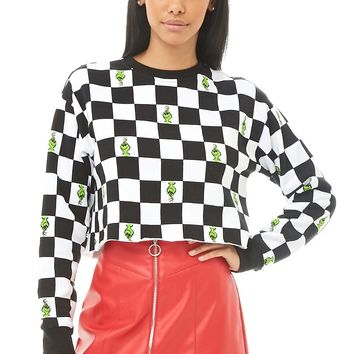 The Grinch Print Checkered Sweatshirt