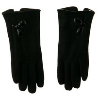 Leather and Button Flower Accent Glove - Black OSFM W21S32E