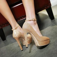 Ankle Strap Fashion Women Work Shoes Pointed Toe Platform Thin High Heel Buckle Pump