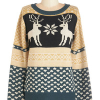 ModCloth Critters Mid-length Long Sleeve Snowflake it to Heart Sweater