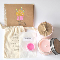Soy candle Gift Set (2 soy candles, card, lip balm with cotton bag)