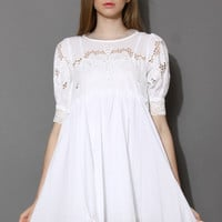 Dolly Cut Out White Dress with Chiffon Back White