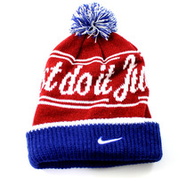 Nike Adult Unisex Just Do It Banner Cuff Pom Blue/Red Beanie Hat