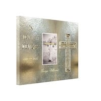 In Loving Memory Typography Golden Cross Photo Canvas Print