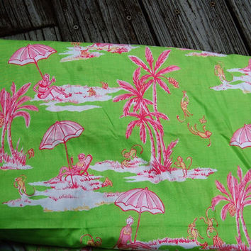 """Lilly Pulitzer Inspired Palm Beach Green and Pink Fabric Sunbathing Monkeys 6 and 1/3 yds. x 42"""" wide"""
