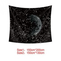 130*150 cm/150*200 cm Black Digital Beach Tapestry Printing Wall Hanging Moon Constellations Wall Decor tapestry