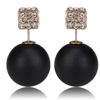 Matte Black - White Crystal Cube Pavé Gold Stud Tribal Double Sided Front Back Peek a Boo Ball Women's Jewelry Earrings