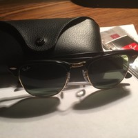 Cheap Ray Ban Clubmaster Black Gold size 49MM outlet