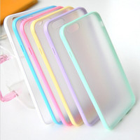 I6/6 Plus Mat PC Back Case + Candy Color TPU Frame Clear Cover For Iphone 6 4.7inch/5.5inch Plus Transparent Capa Clear Case