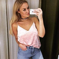 2017 Summer Style Sleeveless Velvet Women Fashion Tank Tops Sexy Deep V-Neck Camisole Tank Casual Party Girls Tops
