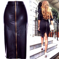 Black Faux Leather High Waist Back Zipper Pencil Midi Skirt