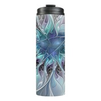 Flourish Abstract Modern Fractal Flower With Blue Thermal Tumbler