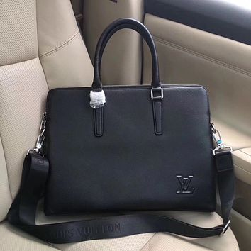 LV Louis Vuitton MEN NEW HOT STYLE LEATHER BRIEFCASE BAG INCLINED SHOULDER BAG
