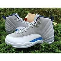 "Air Jordan 12 ""Grey/Blue"" grey/white Basketball Shoes 36--47"