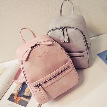 Women Backpack New Fashion Casual PU Leather ladies feminine backpack Candy color Korea school style solid Student mini backpack