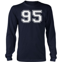 Men's Vintage Sports Jersey Number 95 Long Sleeve T-Shirt for Fan or Player #95
